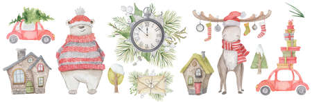 Watercolor Christmas set with elk, polar bear, pine tree and car with presents. Hand drown Illustration 版權商用圖片 - 154743364