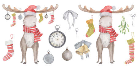 Watercolor Christmas elk in Santa hat and scarf with socks, toys and watches hanging from their horns. Illustration