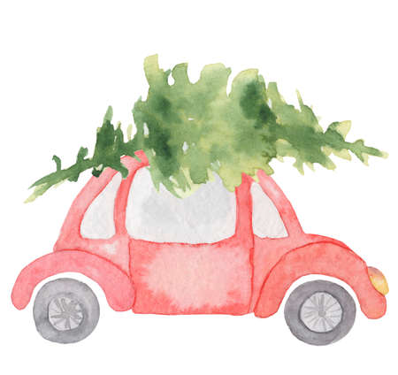 Watercolor Christmas red car with green pine tree on it Winter hand drown illustration
