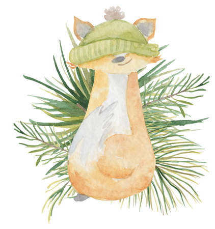 Watercolor Christmas fox in green hat and pine branch on the background Hand drown winter illustration Imagens