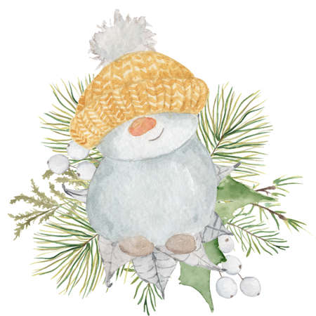 Watercolor Christmas Little cute snowman in a yellow hat with pine tree bouquet. Cartoon illustration isolated on the white background Imagens