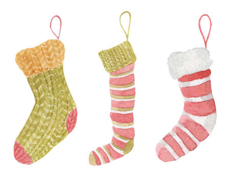 Watercolor christmas socks hand drawn set