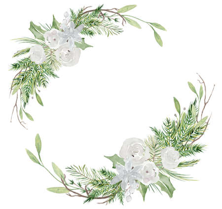 Watercolor Christmas wreath with pine tree branches and flowers hand drawn illustration isolated on white background 版權商用圖片 - 154865751