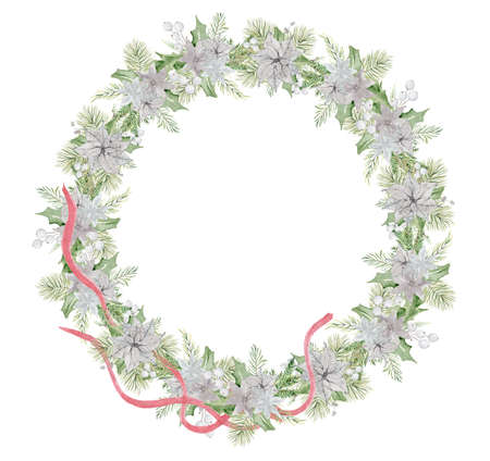 Watercolor Christmas wreath with pine tree branches, red ribbon and flowers hand drawn illustration isolated on white background Imagens