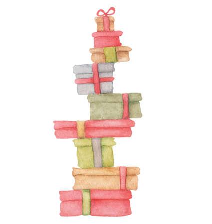 Watercolor Christmas presents hand drawn gifts set