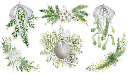 Watercolor Christmas floral bouquets with flowers and pine tree branches decor set 版權商用圖片