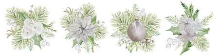 Watercolor Christmas floral bouquet with flowers and pine tree branches decor 版權商用圖片 - 155707713