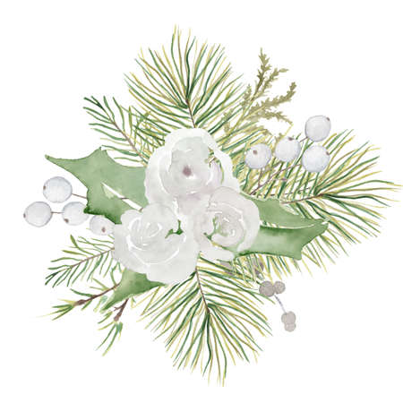 Watercolor Christmas floral bouquet with flowers and pine tree branches decor