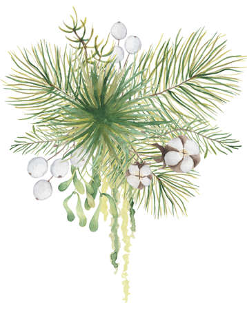 Watercolor Christmas floral bouquet with cotton and pine tree branches decor