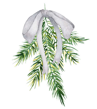Watercolor Christmas floral bouquet with pine tree branches and ribbon decor illustration