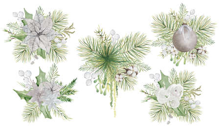 Watercolor Christmas floral bouquets with flowers and pine tree branches decor set Banque d'images