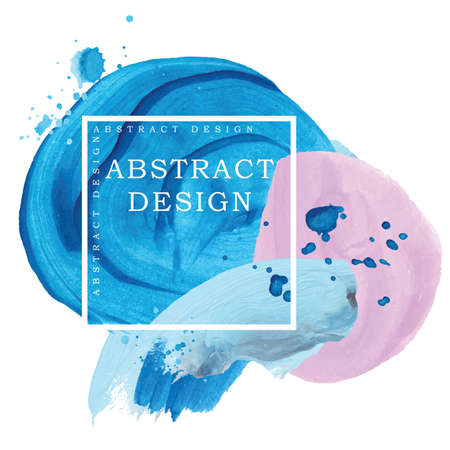 Absract design watercolor brush strokes pink, blue and red Ilustração