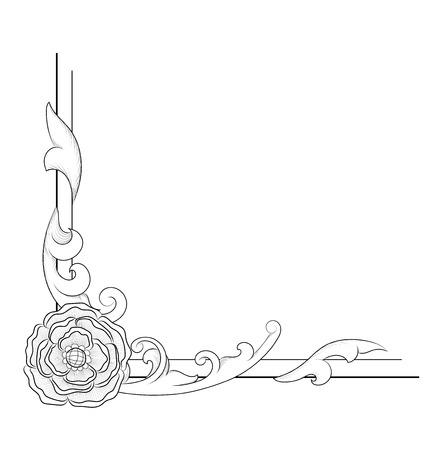 Vector image. Decorative floral elements, corners, borders, frame, crown. Vintage baroque corner scroll ornament engraving. Page decoration.