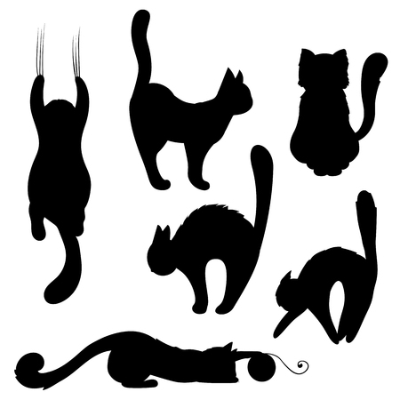 Vector image. Set of black cat silhouettes. Cartoon playful cats.