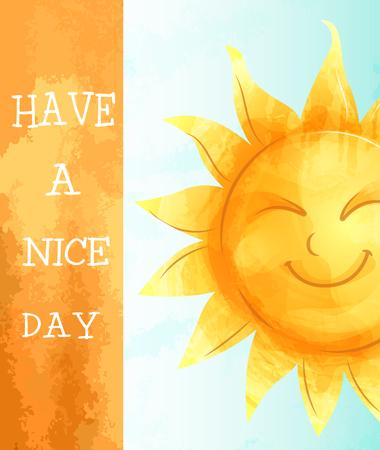 Imagen vectorial. Tarjeta de felicitación con un sol de personaje de dibujos animados. Imitación de acuarela. Que tenga un lindo día.