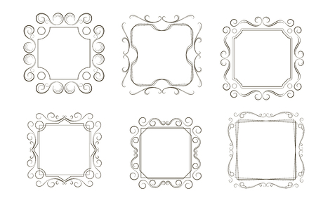 Vector image. Set of vintage frames with scrolls and curls. Vettoriali