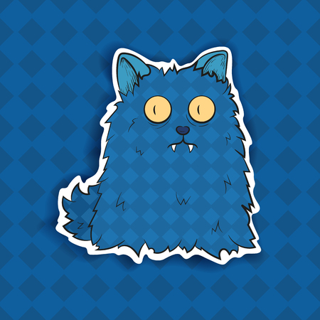 Vector image. Funny Halloween blue freak. Unusual cartoon character monster cat, cute and creepy.