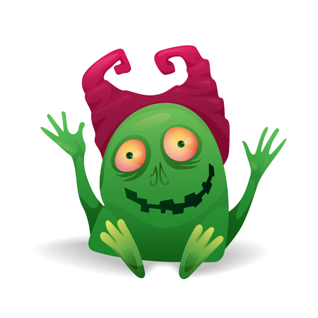 Vector image. Funny Halloween green with pink horns freak. Unusual cartoon character monster, cute and creepy. 矢量图像