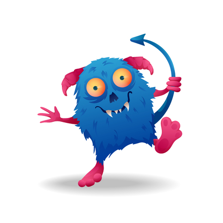 Vector image. Funny Halloween blue with pink horns freak. Unusual cartoon character monster, cute and creepy.