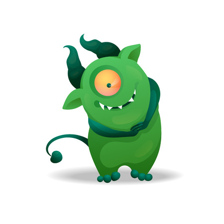 Vector image. Funny Halloween green freak. Unusual cartoon character monster, cute and creepy.