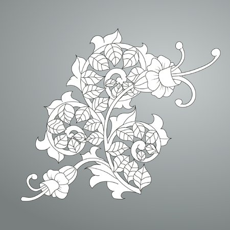 Antique pattern with flowers. Scroll and curls, element for engraving