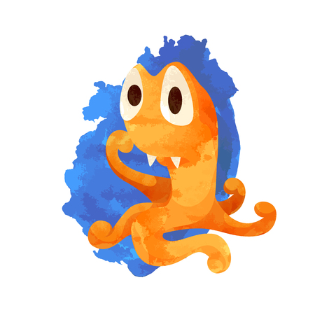 Vector image of cartoon orange monster with big eyes. Pensive monster like an octopus. Watercolor imitation