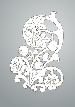 Antique pattern with flowers and berries. Scroll and curls, element for engraving Çizim