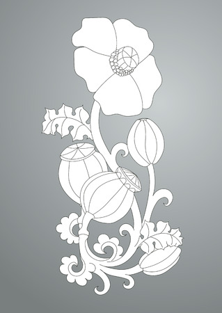 Antique pattern with flowers poppy. Scroll and curls, element for engraving
