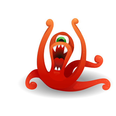 Vector image. Funny red monster angry, screaming and waving tentacles. Cute cartoon monster resembling an octopus.