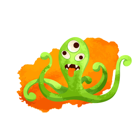 Vector image. Funny crazy green monster. Cute cartoon monster resembling an octopus. Watercolor imitation Ilustração