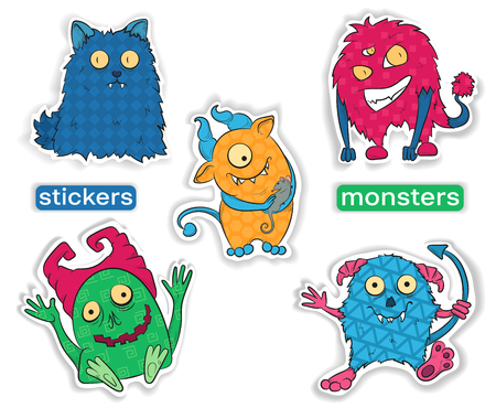 Vector image. Set of cartoon colored Halloween monsters