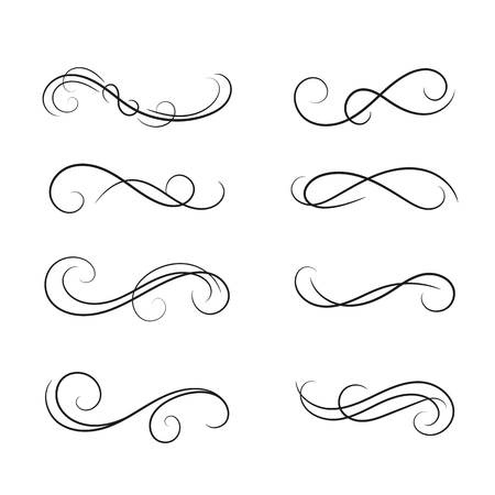 Set of curls and scrolls design element.