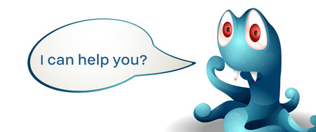Vector image. Cute cartoon character monster assistant. Online assistance and counseling.