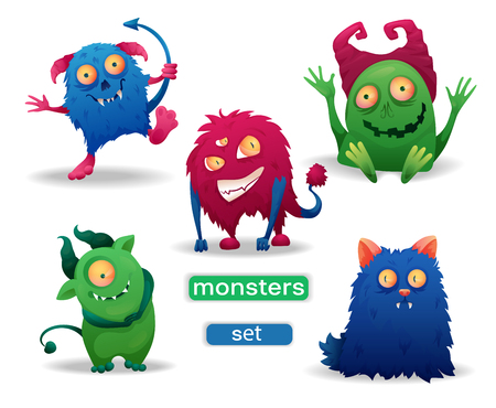 Set of cartoon colored Halloween funny monsters