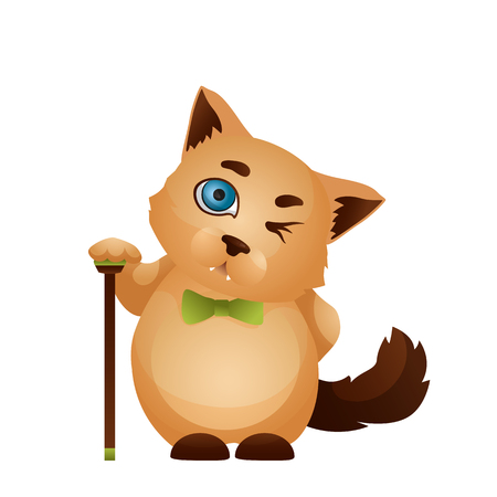 Vector image. Emotion icon. Cartoon character home pet. Cute cat with a cane winks.