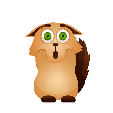 Vector image. Emotion icon. Cartoon character home pet. Very surprised, frightened cute cat Standard-Bild - 113770146