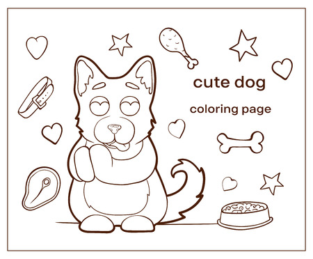 Vector image. Cartoon character dogs doodle hand drawn. Coloring page, pets. Puppy in love, admires.
