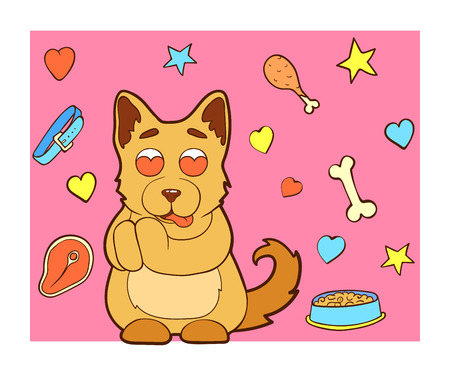 Vector image. Cartoon character puppy doodle hand drawn. Line art colored background. Puppy in love, admires. Ilustração