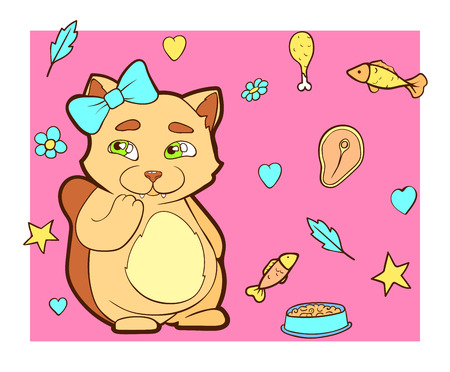 Vector image. Cartoon character cat doodle hand drawn. Line art colored background. Cute, shy kitty. Illustration