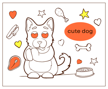 Vector image. Cartoon character dogs doodle hand drawn. Painted pets. Puppy in love, admires. Ilustração