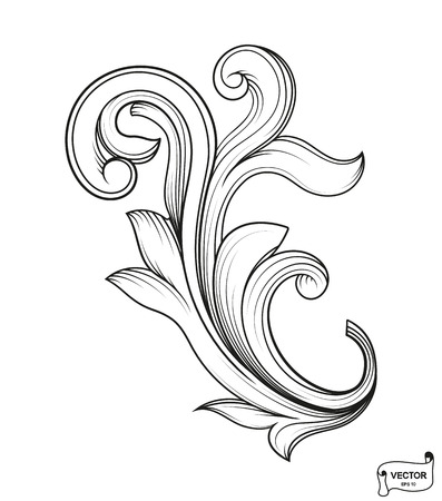 Vector elements. Curls and scrolls ornament for design and decoration.Vintage baroque victorian floral ornament scroll. Engraved retro flower pattern decorative design. Tattoo filigree calligraphy.