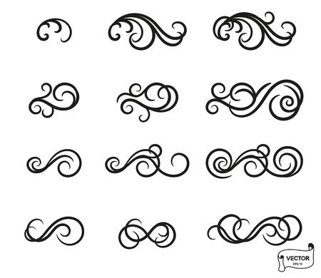 Elementos vectoriales. Conjunto de adornos de rizos y pergaminos para diseño y decoración.