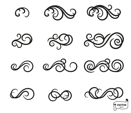 Vector elements. Set of curls and scrolls ornament for design and decoration.