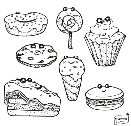 Vector image. Set of cute cartoon characters, smiling kawaii dessert. Coloring pages in a doodle style.
