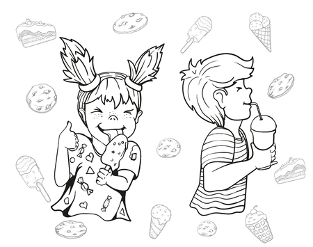 Vector image. Set of boy and girl in the style of the doodle. The girl eats ice cream, squinted and shows thumb up. The boy contented drinks from paper cup. Illustration