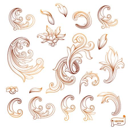 Vector image. Set of element baroque engraved floral scroll retro pattern. Golden victorian frame border ornament. Filigree vintage calligraphic elements for design.