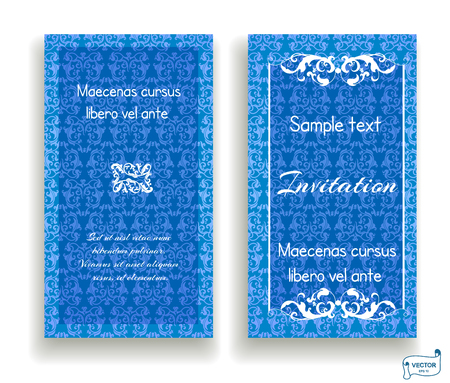 Set of visiting and business card blue and white colored with scrolls design element. Front page and back page.