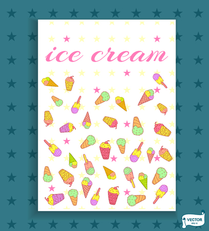 Vector card with the image of ice cream. Cute doodle style ice cream.