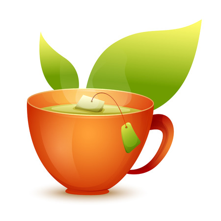 Vector image. Cute cartoon yellow mug of hot tea. Illustration