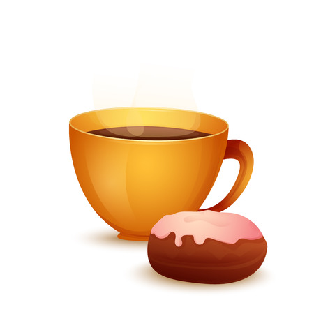 Vector image. Cartoon cup with hot drink and bun.